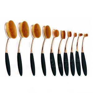 Kala-Market - MacBrush10 1 300x300 - براش دسته طلایی 10 تایی مک  ( 10pcs Rose Gold Oval Brush )