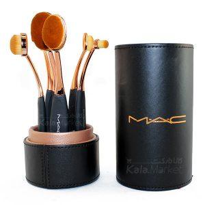 Kala-Market - mac brush gold 2 300x300 - براش دسته طلایی 6 تایی استوانه ای مک (6pcs Rose Gold Oval Brush)