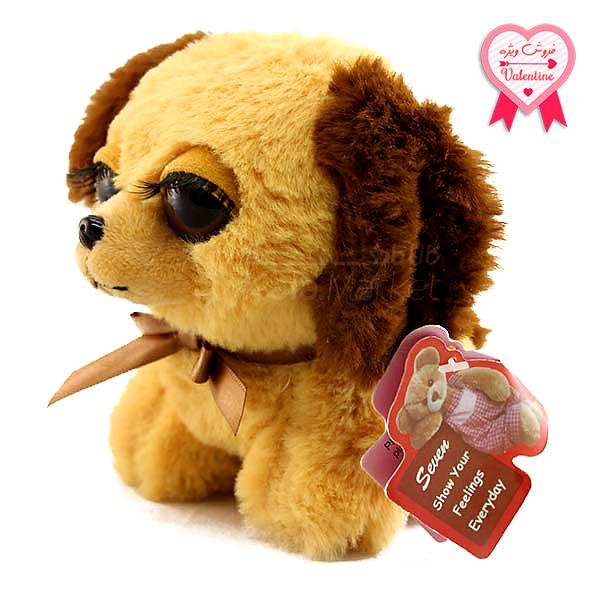 Kala-Market - Dog1 1 1 - عروسک سگ نشسته پا کوتاه (رنگ کرم قهوه ای)