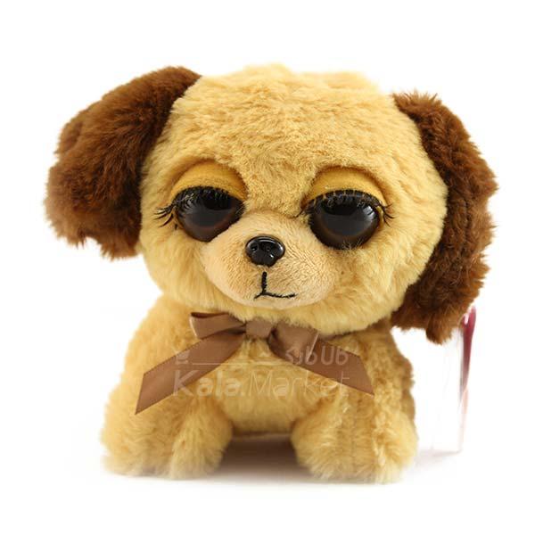 Kala-Market - Dog1 2 - عروسک سگ نشسته پا کوتاه (رنگ کرم قهوه ای)