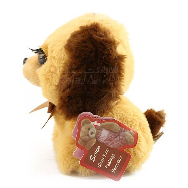 Kala-Market - Dog1 3 - عروسک سگ نشسته پا کوتاه (رنگ کرم قهوه ای)
