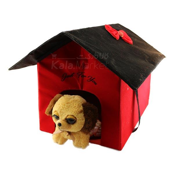 Kala-Market - Dog1 4 - عروسک سگ نشسته پا کوتاه (رنگ کرم قهوه ای)