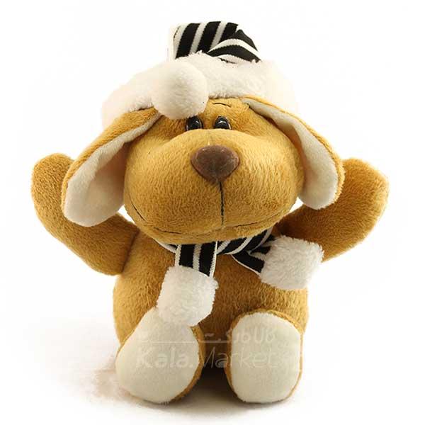 Kala Market-کالا مارکت- Dog3 3 - عروسک سگ کلاه و شال گردن دار