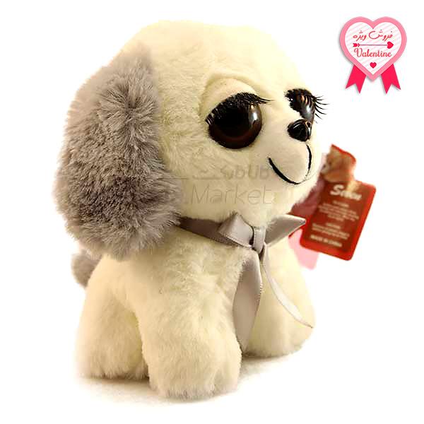 Kala Market-کالا مارکت- Dog4 1 1 - عروسک سگ نشسته پا کوتاه (رنگ سفید طوسی)