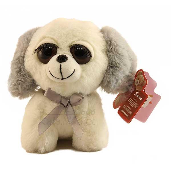 Kala Market-کالا مارکت- Dog4 2 - عروسک سگ نشسته پا کوتاه (رنگ سفید طوسی)
