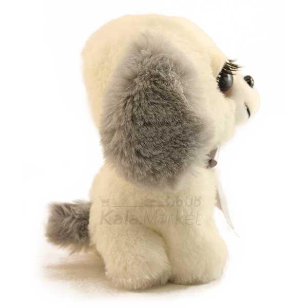 Kala Market-کالا مارکت- Dog4 3 - عروسک سگ نشسته پا کوتاه (رنگ سفید طوسی)