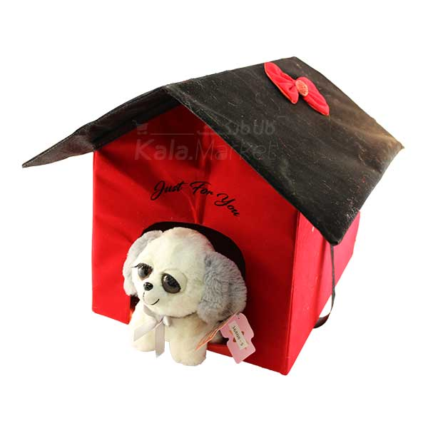 Kala Market-کالا مارکت- Dog4 4 - عروسک سگ نشسته پا کوتاه (رنگ سفید طوسی)