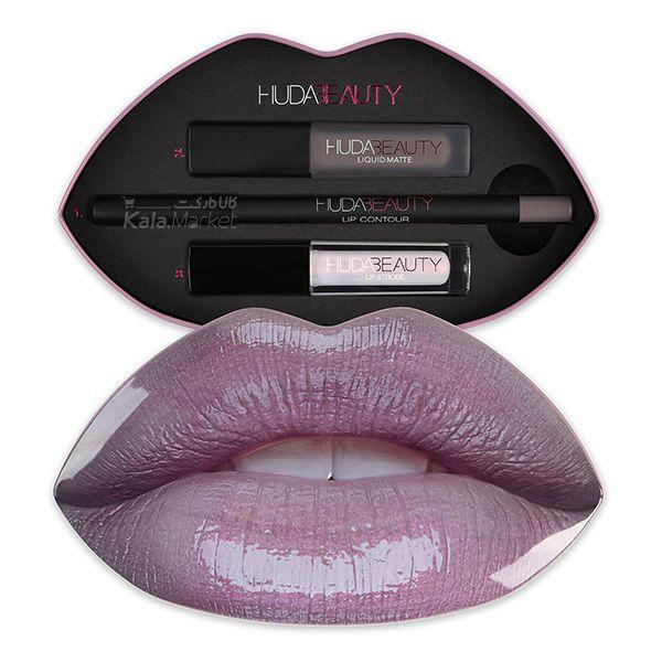 ست آرایش لب هدی بیوتی مدل سیلورفاکس و اینچنتینگ (Huda Beauty Lip Set SILVERFOX & ENCHANTING)  