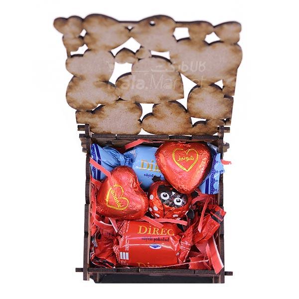 Kala Market-کالا مارکت- box2 2 - جعبه شکلات قرمز مشکی (طرح Big Heart)