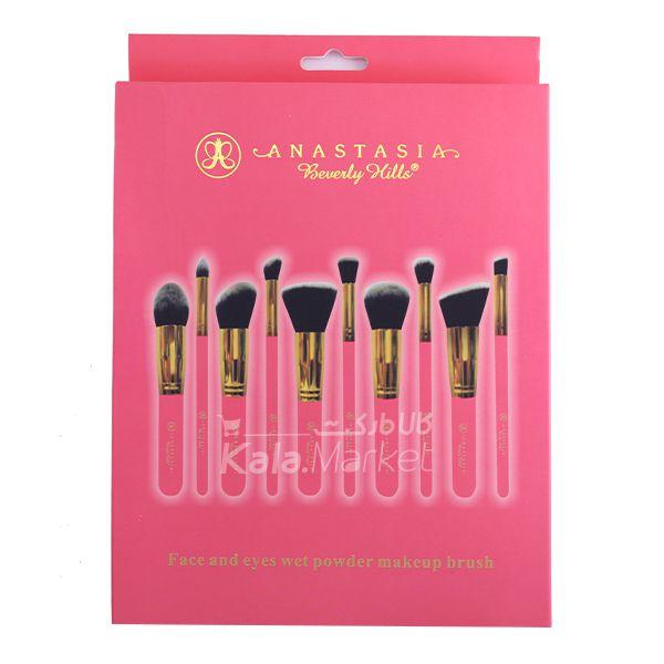Kala Market-کالا مارکت- pink2 - پک براش 10 تایی آناستازیا دسته صورتی (Anastasia Face & Eyes makeup Brush)