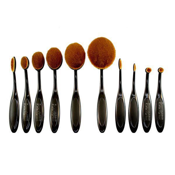 Kala-Market - black oval brush1 1 600x600 - براش مسواکی 10 تایی مشکی (Black Oval Brushes 10 Pcs)