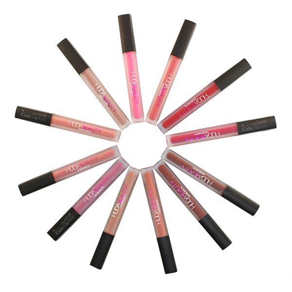 Kala-Market - huda beauty lipstick4 600x600 - پک 12 تایی رژ مایع مات هدی بیوتی (HUDA BEAUTY Liquid Matte Lipstick)