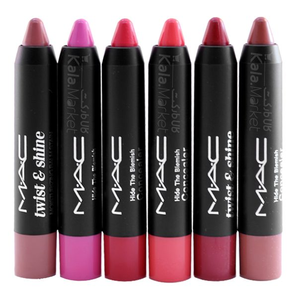 Kala-Market - mac lip pencil1 600x600 - پک 6 تایی رژ مدادی مک (MAC Matte Pencil Lipstick)
