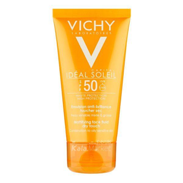 Kala-Market - VICHY Ideal Soleil Mattifying1 1 600x600 - کرم ضد آفتاب ویشی مدل درای تاچ (VICHY Ideal Soleil Mattifying Face Fluid Dry Touch SPF 50)
